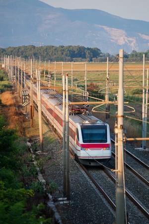 eurostar: Eurostar Train ETR 480 crossing the Countryside Stock Photo
