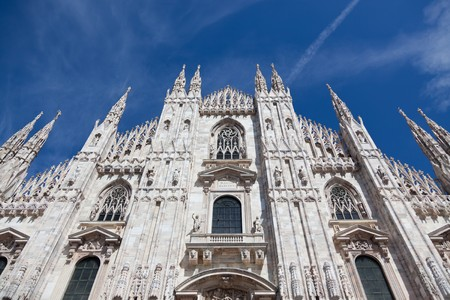 Milan Cathedral Facade from the Bottom with blu sky. Processed with 16 bit image. photo
