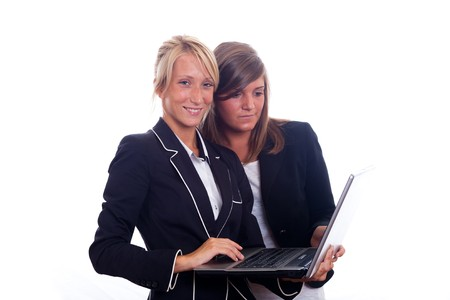 Two Young Businesswoman with Laptop photo