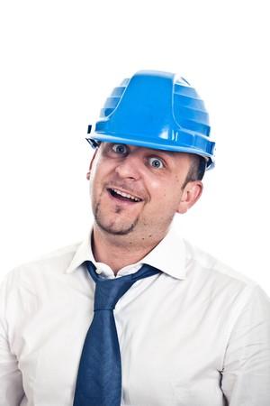 Crazy Engineer Man with Shirt, Necktie and Helmet photo