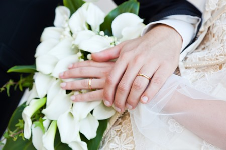 Bride and Groom Hand with Wedding Ring photo