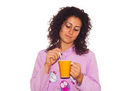 Young Sick Woman Drink Hot Beverage Stock Photo - 7953020