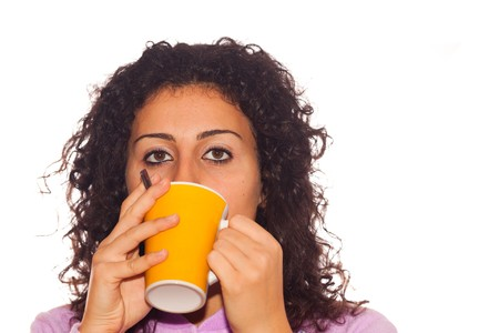 Young Sick Woman Drink Hot Beverage Stock Photo - 7953008