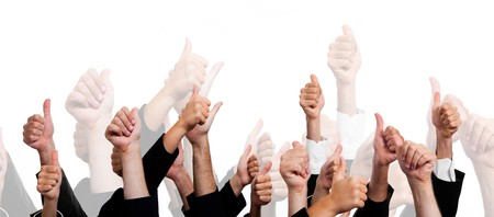 cheer: Business People with Thumbs Up on White Background Stock Photo