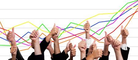 behavior: Personas de negocios con pulgares arriba sobre fondo blanco