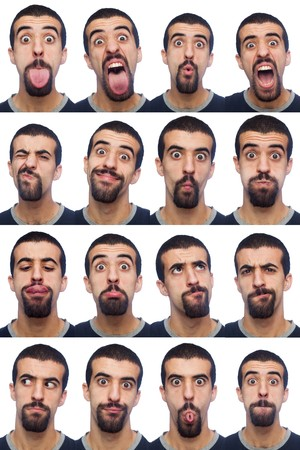 behaviors: Youg Man Collection of Expressions on White Background Stock Photo