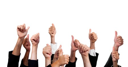 thumbs up: Business People with Thumbs Up on White Background Stock Photo
