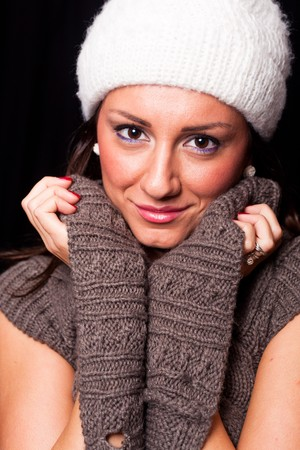 Woman With Winter Clothes photo