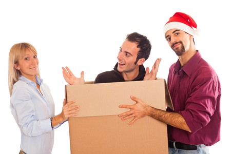 Delivery Boy with Christmas Hat, Present for Woman photo