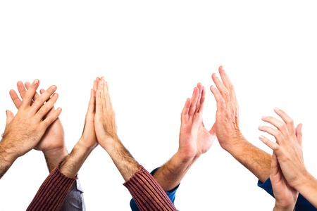 people clapping: Hands Raised Up Clapping on White Background