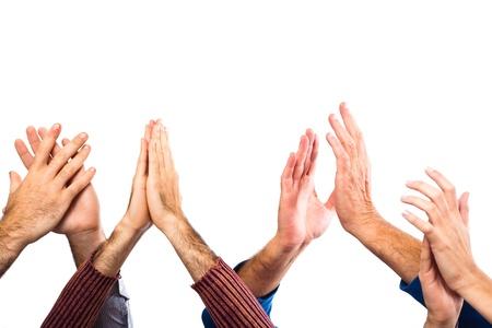 aplaudiendo: Manos obtenidas de Palmas sobre fondo blanco