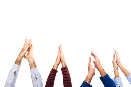 Hands Raised Up Clapping on White Background photo
