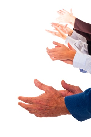 applauding: Hands Clapping on White Background Stock Photo