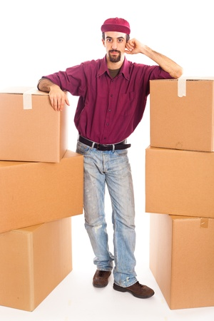 Delivery Boy with Boxes photo