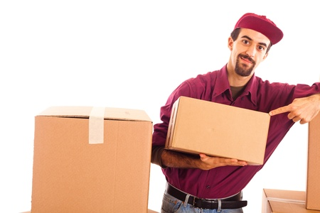 Delivery Boy Hold a Box and Show Copy Space photo