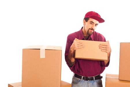 Delivery Boy Strongly hold a Box photo