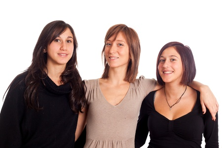 Three Happy Woman with Hands on Shoulders photo
