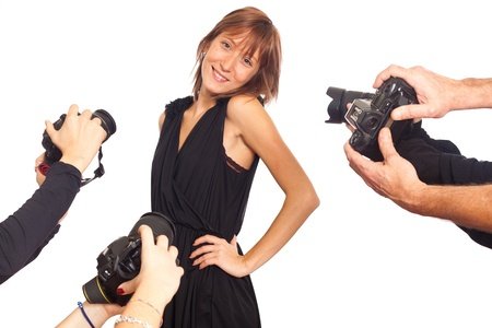 Celebrity Woman in front of Paparazzi photo