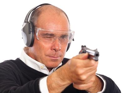 Man Pointing a Gun on White Background Stock Photo - 8557124