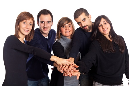 Happy Young Adult People with Hands on Stack photo