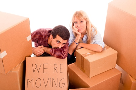 Young Tired Couple on Moving photo