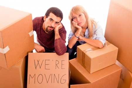 Young Tired Couple on Moving Stock Photo - 8576655
