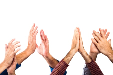 awards ceremony: Hands Raised Up Clapping on White Background