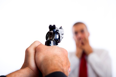 terrorized: Man Point a Gun on Young Terrorized Businessman