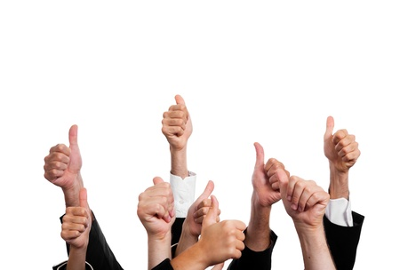 winning business woman: Business People with Thumbs Up on White Background Stock Photo