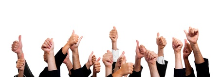 thumbs up group: Gente di affari con pollice su sfondo bianco