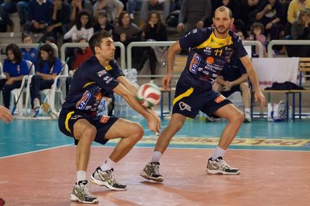 castellana: S.GIUSTINO, PERUGIA, ITALY - JANUARY, 2: Volleyball Italian Mens A1 League, RPA S. Giustino vs BCC-Nep Castellana Grotte at PalaKemon on Jan 2 2011, S.Giustino, Italy Editorial