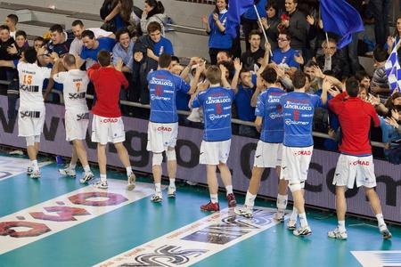 S.GIUSTINO, PERUGIA, ITALY - JANUARY, 2: Volleyball Italian Mens A1 League, RPA S. Giustino vs BCC-Nep Castellana Grotte at PalaKemon on Jan 2 2011, S.Giustino, Italy