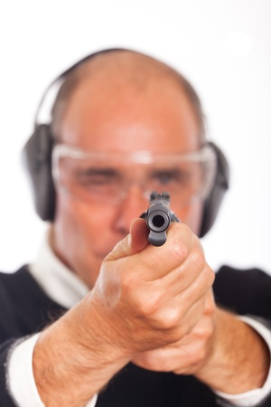 Man Pointing a Gun on White Background  photo