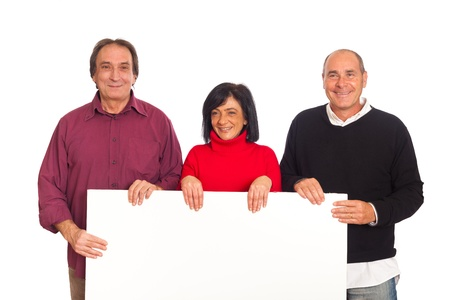 Adult Smiling People Holding Blank Billboard photo
