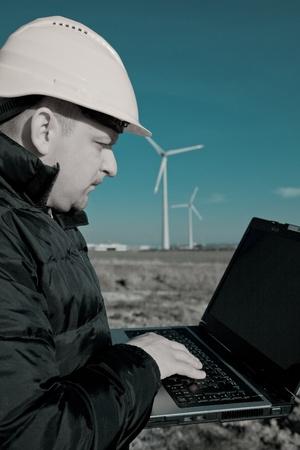 Technician Engineer in Wind Turbine Power Generator Station Stock Photo - 8858330