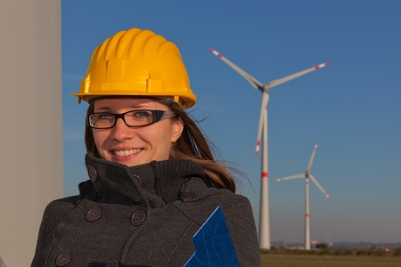 Female Engineer in Wind Turbine Power Generator Station Stock Photo - 8885554