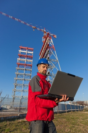 Engineer with Computer in Construction Site Stock Photo - 8991002