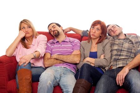 bored man: Annoiato ragazze mentre uomo addormentato sul divano