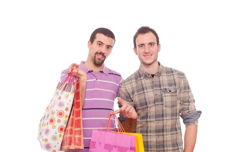 sexy gay: Young Homosexual Couple with Shopping Bags
