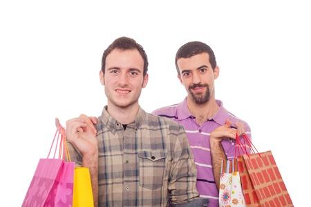 homosexuales: Pareja Homosexual con bolsas de compra
