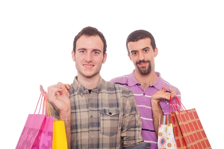 homosexual couple: Young Homosexual Couple with Shopping Bags