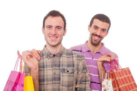gay couple: Young Homosexual Couple with Shopping Bags