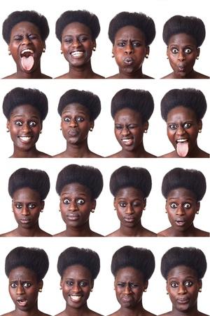series: Beautiful Black Woman Portrait, Multiple Image Stock Photo