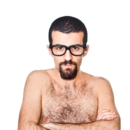 Nude Young Nerd Portrait on white photo
