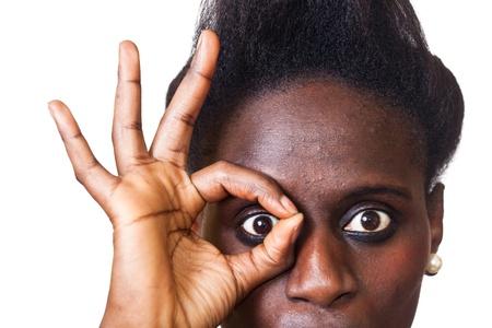 Beautiful Black Woman Portrait on White photo