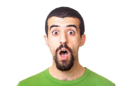 amazed: Young Surprised Man Portrait on White