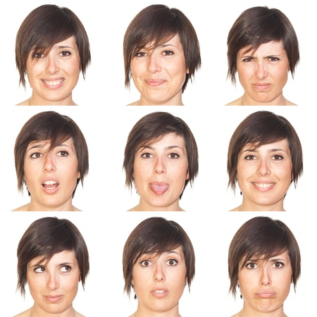 Beautiful Young Woman Collection of Expressions Stock Photo - 9538940