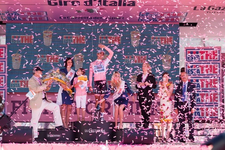 MILANO, ITALY - MAY 29: Alberto Contador with Pink Jersey wins the Giro dItalia of 2011 on May 29, 2011 in Milano, Italy