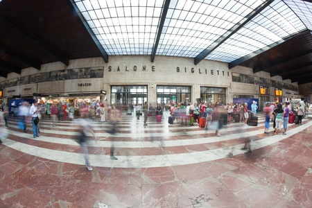 florence italy: FLORENCE, ITALY - May 25, 2011: Commuters and Tourists at Florence Santa Maria Novella Train Station Editorial