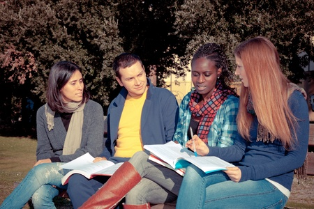 College Students Studying Together at Park Stock Photo - 9984897
